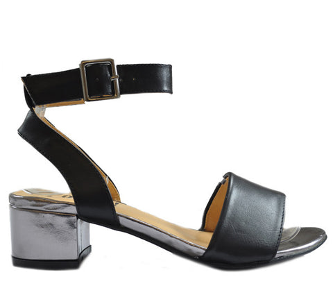 Black Low Block Metallic Heel Open Toe Sandals S284