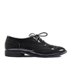 Black Patent Low Heel Brogue Shiny Shoes S283
