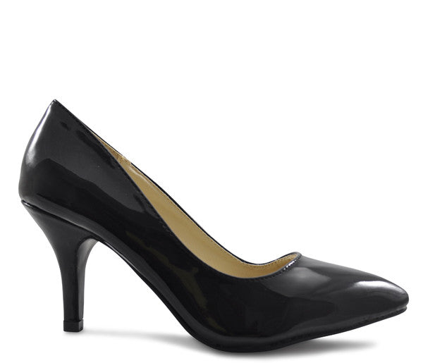 Black Shiny Patent Mid Heel Pointed Court Shoes S319
