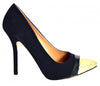 Ladies Carlton Black Suede Gold Tip High Heel Court Shoes