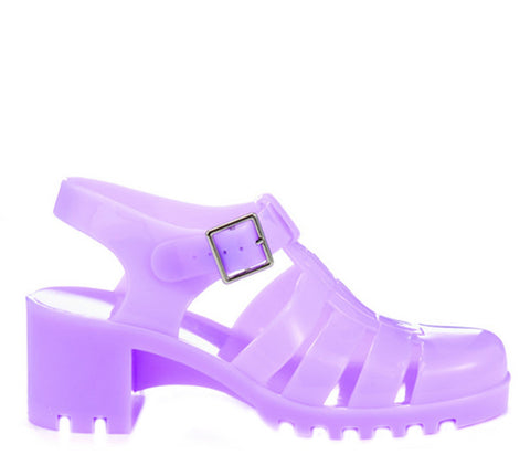 Lilac Block Heel Jelly Strappy Sandals S337