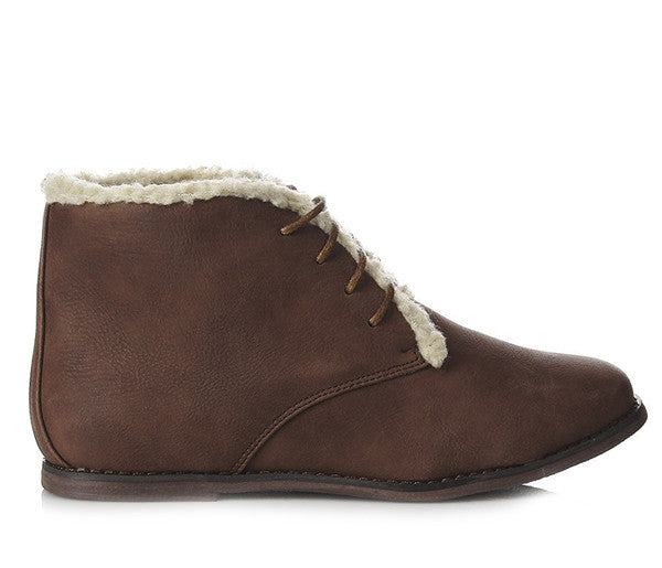 Ladies Carlton Brown Lace Up Fur Lined Ankle Boots Martha Shoes