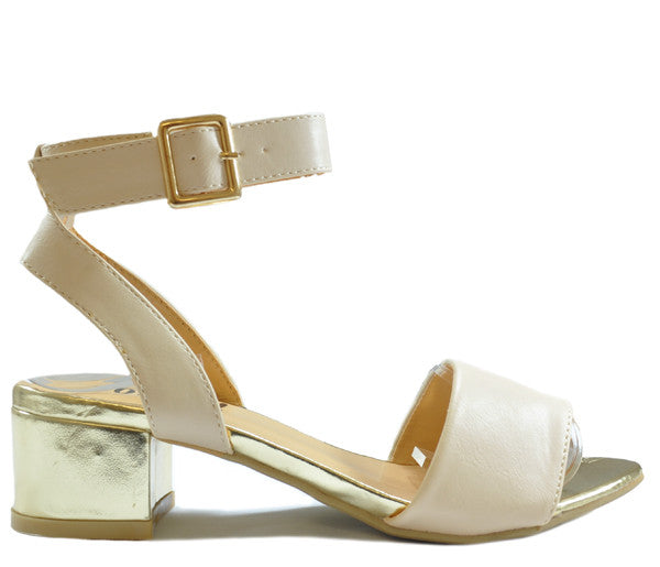Ladies Posh Nude Faux Leather Low Block Gold Heel Open Toe Sandals