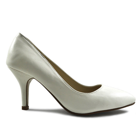 White Matt Mid Heel Pointed Court Shoes S321