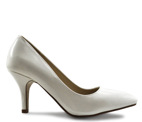 White Shiny Patent Mid Heel Pointed Court Shoes S323