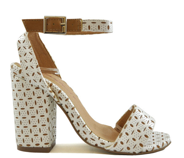 Ladies Dolcis White & Tan Pattern Cut Block High Heel Sandals Shoes