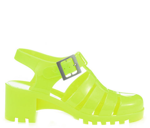 Neon Yellow Block Heel Jelly Strappy Sandals S336