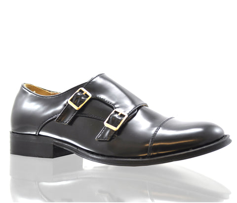 Dolcis Black Low Heel Double Buckle Monk Shoes S160
