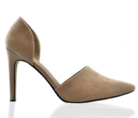 Beige Side Cut Pointed High Heel Court Shoes S165