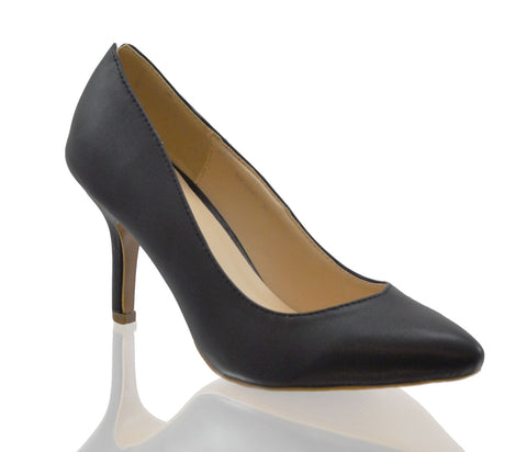 Black Court Mid High Heel Shoes S092