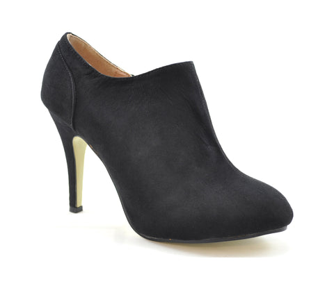 Black Faux Suede Ankle High Heel Boots S127