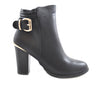 Black Gold Buckle Faux Leather Block Heel Ankle Boots S254