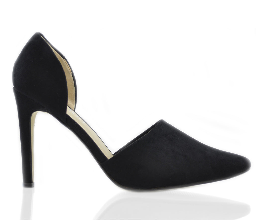 Ladies Posh Black Side Cut Pointed High Heel Court Shoes.