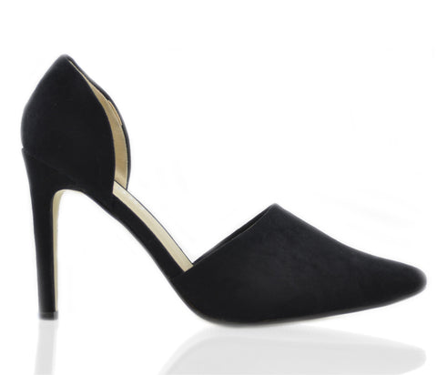 Black Side Cut Pointed High Heel Court Shoes S164