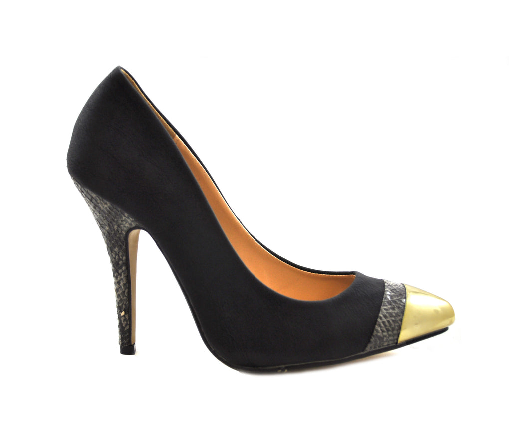 Ladies Posh Black Gold Tipped High Heel Court Shoes