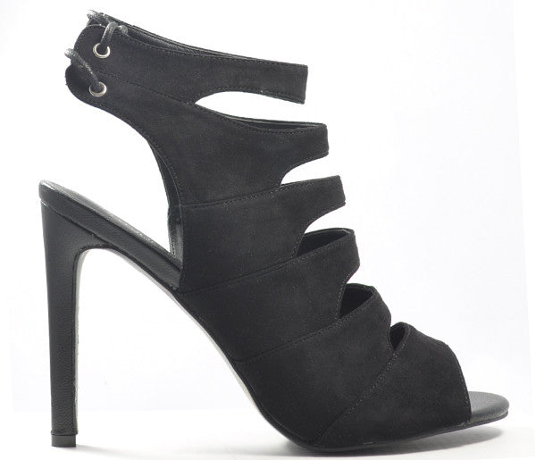 Fay Black Suede High Heel Strappy Peep Toe Sandals S382