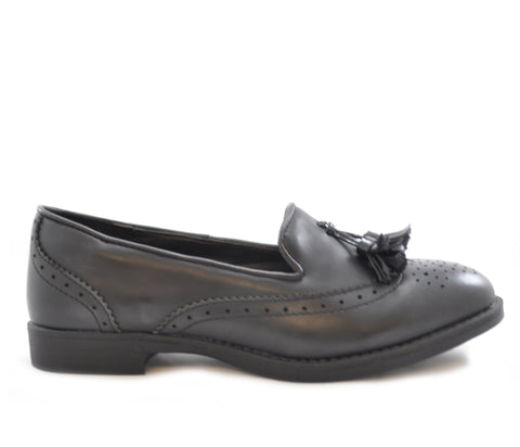 Black Matt Brogue Tassel Slip On Shoes S218