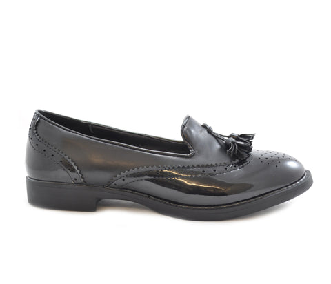 Black Patent Matt Brogue Tassel Slip On Shoes S217