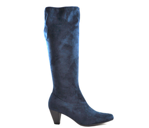 Marco Tozzi Navy Knee High Low Heel Stretch Boots S369