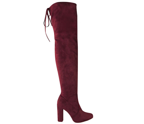 Naomi Burgundy Block High Heel Over The Knee Boots S449