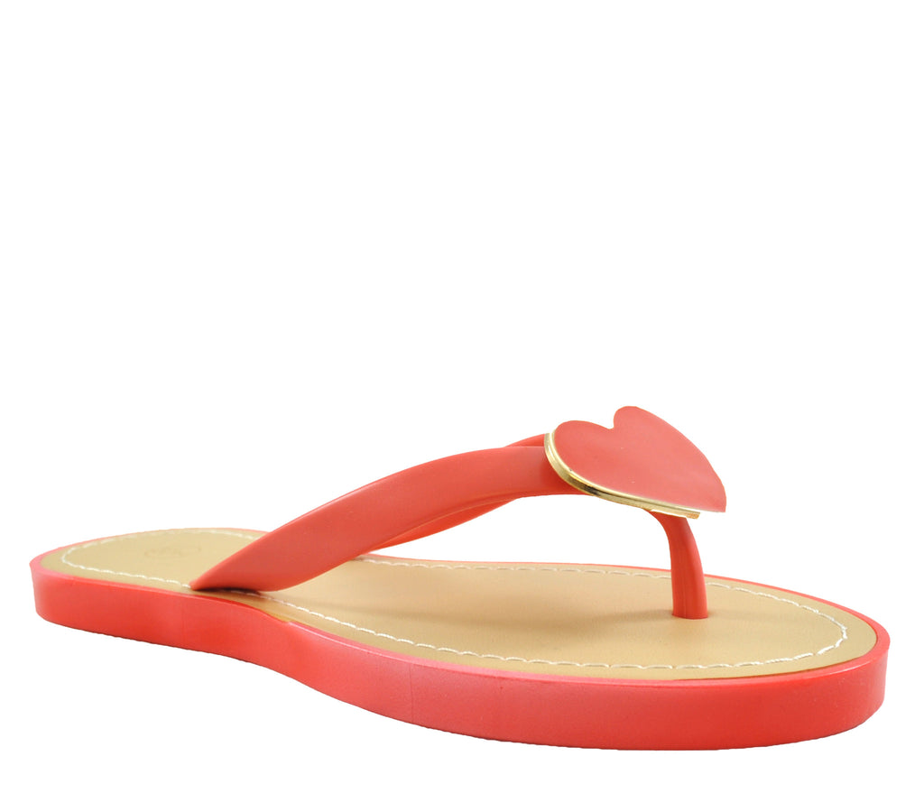 Coral Flat Open Toe Heart Sandals S303