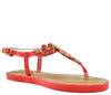 Coral Flat Open Toe Ankle Strap Metal Petal Sandals S313