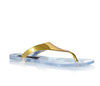 Ladies Carlton Clear Flat Jelly Sandals With Gold Top Shoes