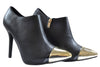 Black Shiny Gold Front Tipped High Heel Ankle Boots S278