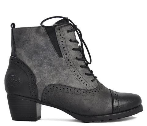 Marco Tozzi Grey Brogue Low Heel Ankle Boots S372