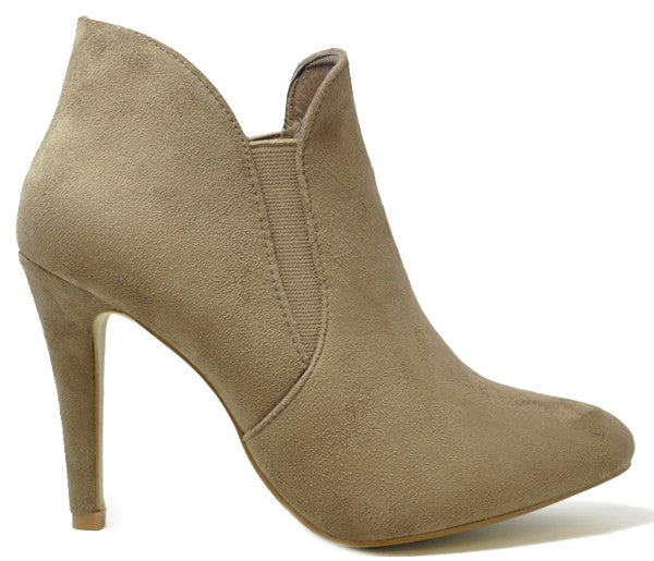 Kay Mocha High Heel Chelsea Suede Ankle Boots S402
