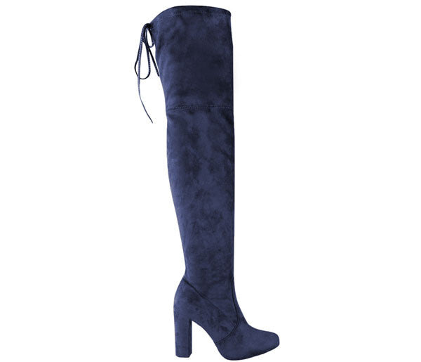 Naomi Navy Blue Block High Heel Over The Knee Boots S450