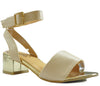 Nude Faux Leather Block Gold Heel Open Toe Sandals S290