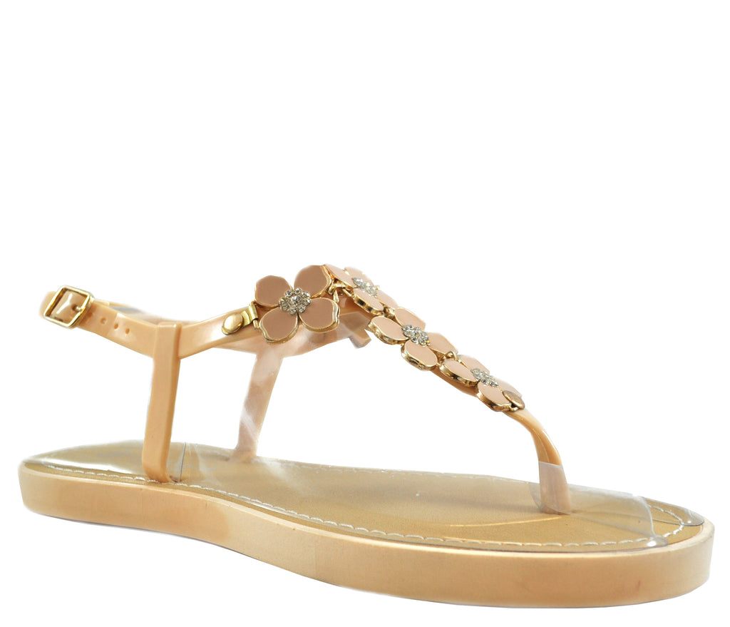 Nude Flat Open Toe Ankle Strap Metal Petal Sandals S312