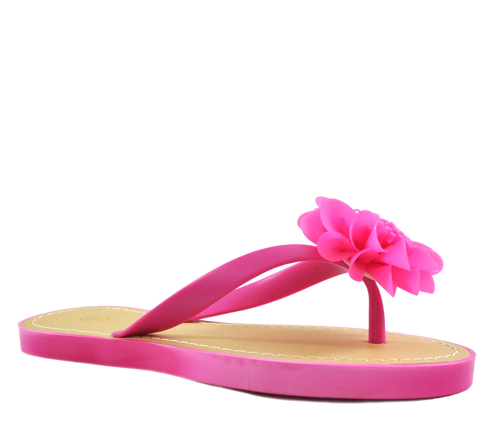 Fuchsia Pink Flat Open Toe Flower Sandals S306