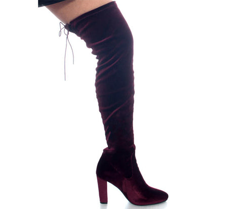 Nadia Wine Velvet Over The Knee Boots S473