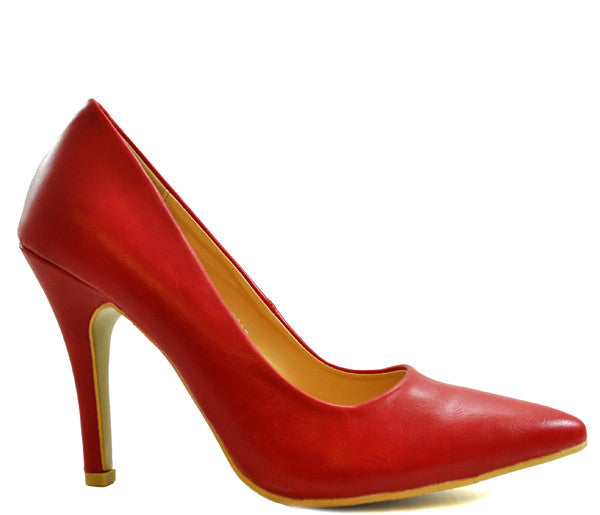 Red High Heel Pointed Court Shoes S365