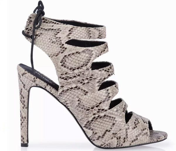 Fay Snake Skin High Heel Strappy Peep Toe Sandals S383