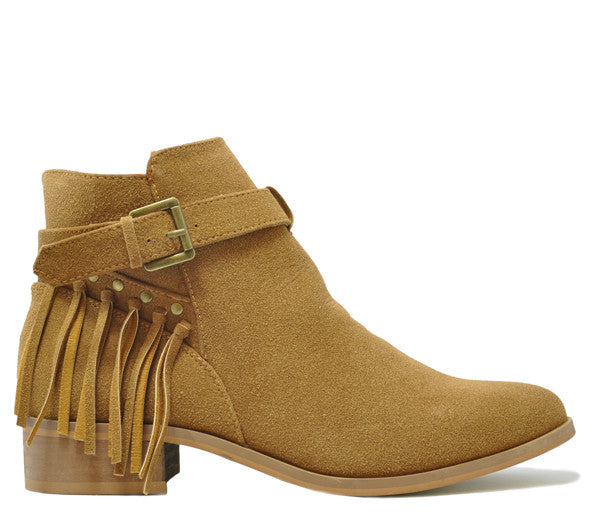 Ivy Tan Low Heel Fringe Ankle Boots S398