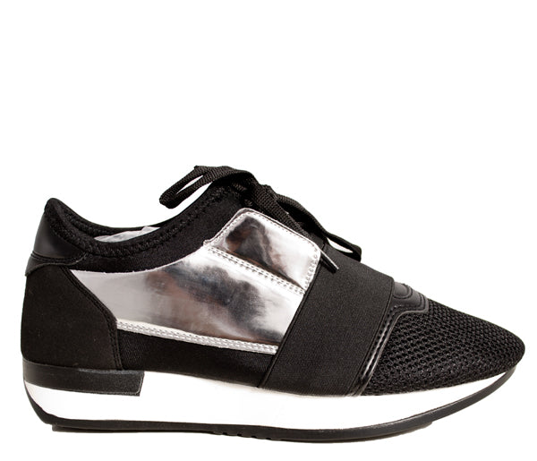 Silver Black Band Runner Trainers S512