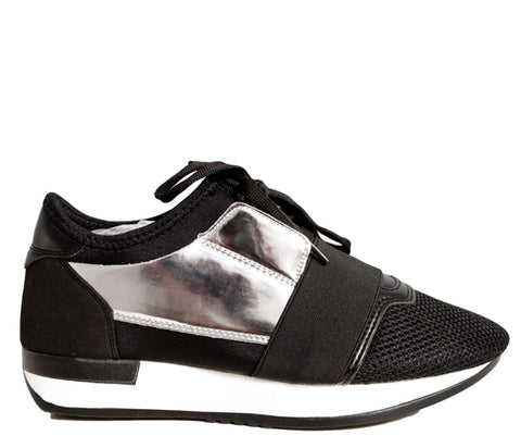 Usha Silver Black Band Runner Trainers S512