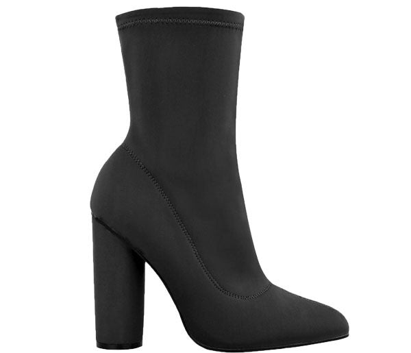 Jacey Black Stretch Lycra Ankle Boots S454