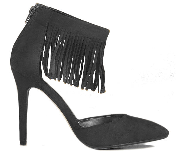 Rae Black High Heel Fringe Tassel Shoes S421