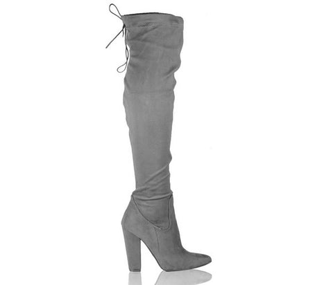 Sabrina Light Grey Thigh High Over The Knee Boots S482