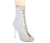 Wanda Grey Lace Up High Heels S429