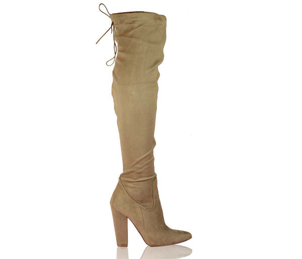 Naomi Mocha Block High Heel Over The Knee Boots S409