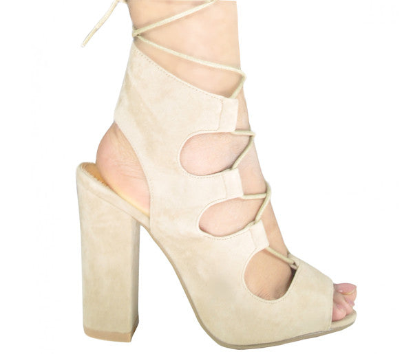 Xena Nude Suede Lace Up Block Heels S433
