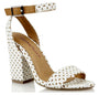 Dolcis White & Tan Pattern Cut Block High Heel Sandals S292