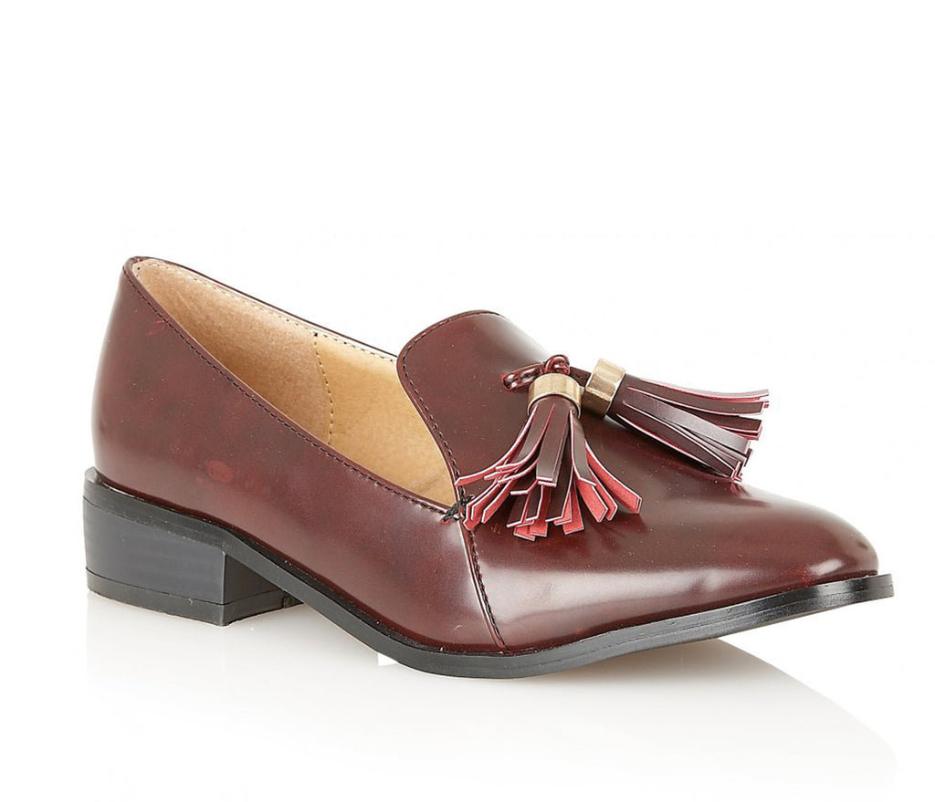 Ladies  Dolcis Burgundy Flat Low Heel Patent Loafers