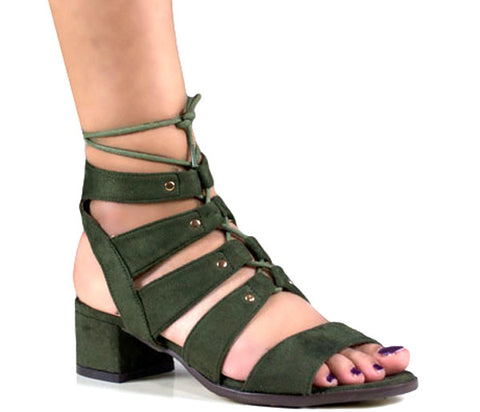Clara Khaki Suede Lace Up Gladiator Sandals S440