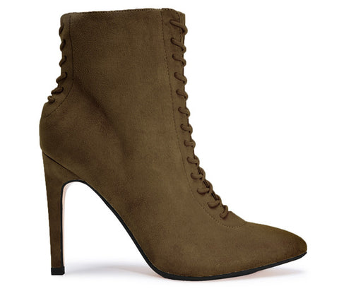 Shelby Khaki Lace Up Ankle Boots S505